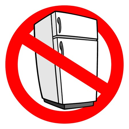 No Refrigeration - A vector cartoon illustration of a No Refrigeration sign.