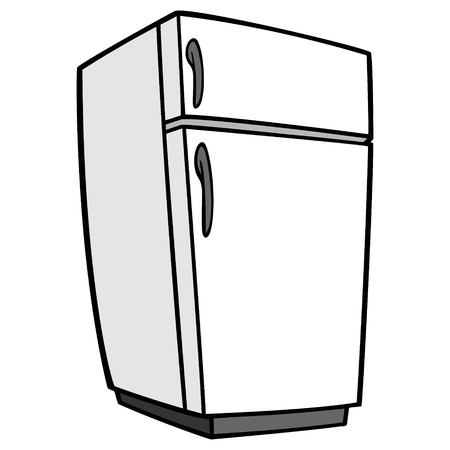 Refrigerator - A vector cartoon illustration of a home kitchen refrigerator.