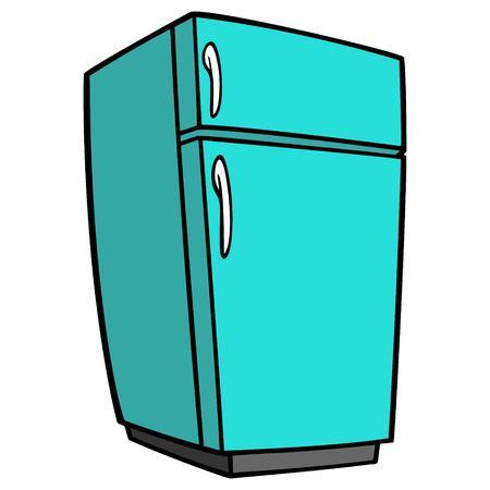 Teal Retro koelkast - een cartoon vectorillustratie van een huis keuken koelkast. Vector Illustratie
