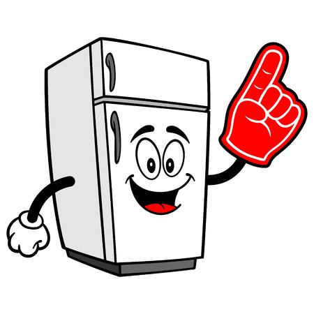 Refrigerator Mascot with Foam Hand - A vector cartoon illustration of a home kitchen refrigerator mascot with a Foam Hand.