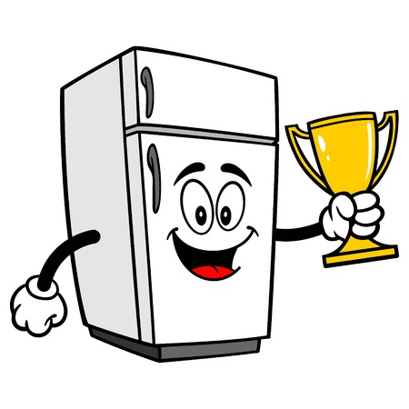 Refrigerator Mascot with a Trophy - A vector cartoon illustration of a home kitchen refrigerator mascot holding a Trophy. Ilustrace