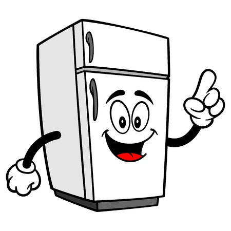 Refrigerator Mascot Pointing - A vector cartoon illustration of a home kitchen refrigerator mascot pointing.