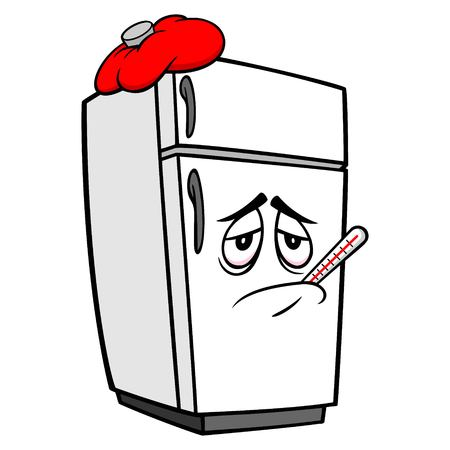 Refrigerator Mascot Sick - A vector cartoon illustration of a sick home kitchen refrigerator mascot.