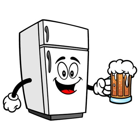Refrigerator Mascot with Beer - A vector cartoon illustration of a home kitchen refrigerator mascot with a mug of Beer. Ilustrace