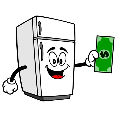 Refrigerator Mascot with a Dollar - A vector cartoon illustration of a home kitchen refrigerator mascot holding a Dollar.