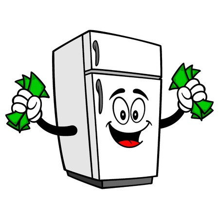 Refrigerator Mascot with Money - A vector cartoon illustration of a home kitchen refrigerator mascot holding up some Money.