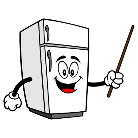 Refrigerator Mascot with a Pointer - A vector cartoon illustration of a home kitchen refrigerator mascot with a Pointer. Ilustracja
