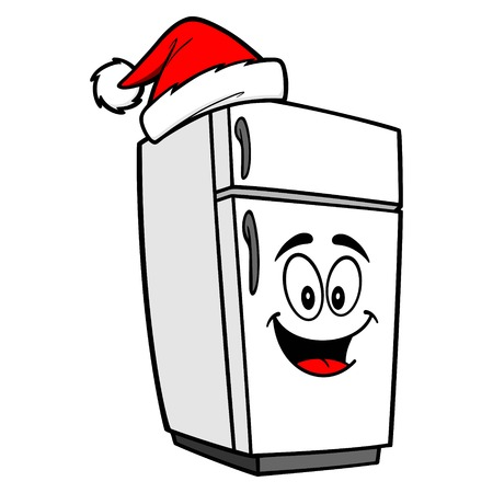 Refrigerator Mascot with a Santa Hat - A vector cartoon illustration of a refrigerator mascot with a Santa Hat.
