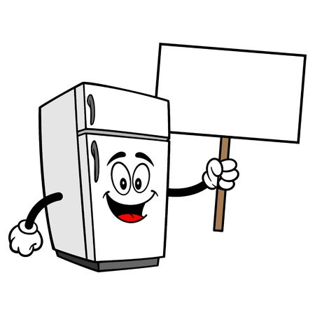 Koelkast mascotte met teken - een cartoon vectorillustratie van een huis keuken koelkast mascotte.