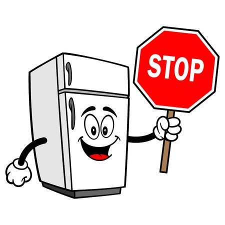 Refrigerator Mascot with Stop Sign - A vector cartoon illustration of a home kitchen refrigerator mascot. Illustration
