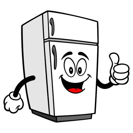 Refrigerator Mascot with Thumbs Up - A vector cartoon illustration of a home kitchen refrigerator mascot with Thumbs Up.