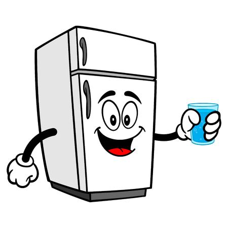 Refrigerator Mascot with Water - A vector cartoon illustration of a refrigerator mascot with a cup of water. Ilustracja