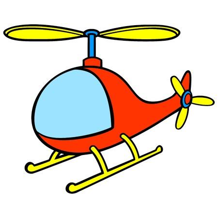 Śmigłowiec Cartoon - ilustracja kreskówka wektor zabawnej zabawki Helikopter.