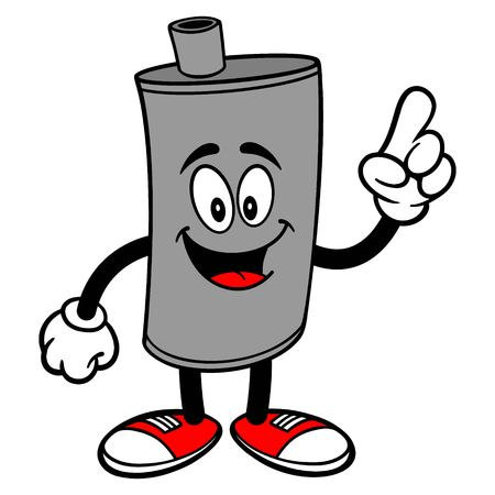 Car Muffler Mascot Pointing - A vector cartoon illustration of a car muffler mascot pointing.