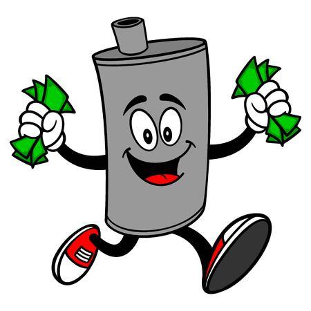 Car Muffler Mascot running with Money - A vector cartoon illustration of a car muffler mascot running with money.
