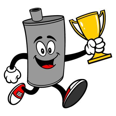 Car Muffler Mascot running with a Trophy - A vector cartoon illustration of a car muffler mascot running with a Trophy. Ilustrace