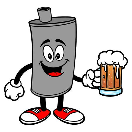 Car Muffler Mascot with a Beer - A vector cartoon illustration of a car muffler mascot with a mug of Beer.