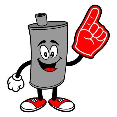 Car Muffler Mascot with a Foam Finger - A vector cartoon illustration of a car muffler mascot with a foam hand.