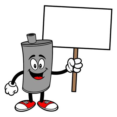 Car Muffler Mascot with Sign - A vector cartoon illustration of a car muffler mascot holding a blank Sign. 矢量图像