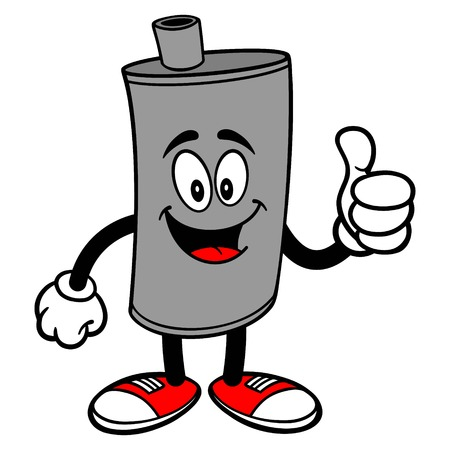 Car Muffler Mascot with Thumbs Up - A vector cartoon illustration of a car muffler mascot holding a Thumbs Up.