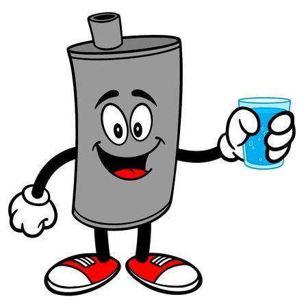 Car Muffler Mascot with Water - A vector cartoon illustration of a car muffler mascot holding a glass of water.