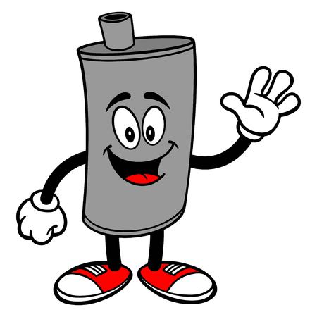 Car Muffler Mascot Waving - A vector cartoon illustration of a car muffler mascot waving.