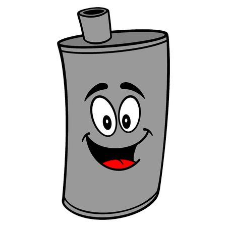 Car Muffler Mascot - A vector cartoon illustration of a car muffler mascot. Ilustrace