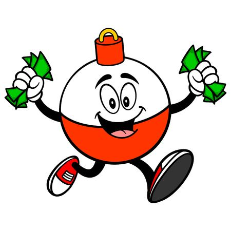 Fishing Bobber Mascot running with Money - A vector cartoon illustration of a red and white Fishing Bobber mascot running with Money. Ilustracja