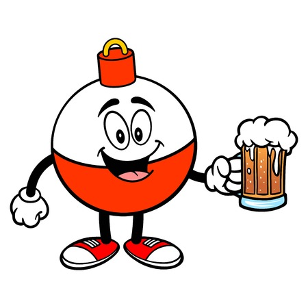 Fishing Bobber Mascot with a Beer - A vector cartoon illustration of a red and white Fishing Bobber mascot holding a mug of Beer. Ilustração
