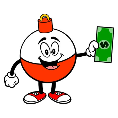 Fishing Bobber Mascot with a Dollar - A vector cartoon illustration of a red and white Fishing Bobber mascot holding a Dollar.