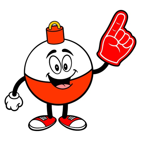 Fishing Bobber Mascot with a Foam Finger - A vector cartoon illustration of a red and white Fishing Bobber mascot with a Foam Hand. Çizim