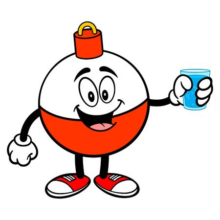 Fishing Bobber Mascot with a cup of Water - A vector cartoon illustration of a red and white Fishing Bobber mascot holding a cup of Water.