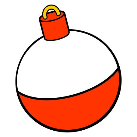 Fishing Bobber - A vector cartoon illustration of a red and white Fishing Bobber.