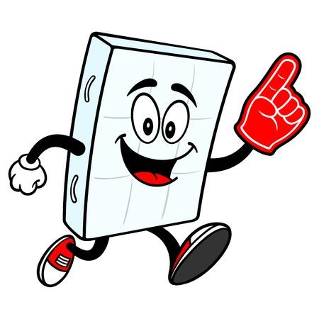 Bed Mattress Mascot running with Foam Hand - A vector cartoon illustration of a bedroom mattress mascot running with a Foam Hand.