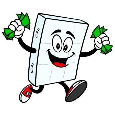 Bed Mattress Mascot running with Money - A vector cartoon illustration of a bedroom mattress mascot running with Money. Ilustrace