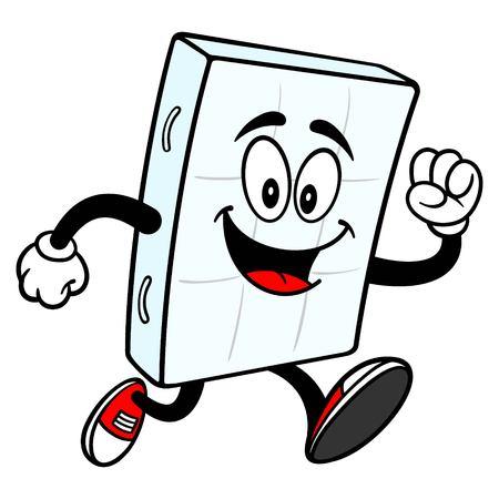 Bed Mattress Mascot Running - A vector cartoon illustration of a bedroom mattress mascot running.