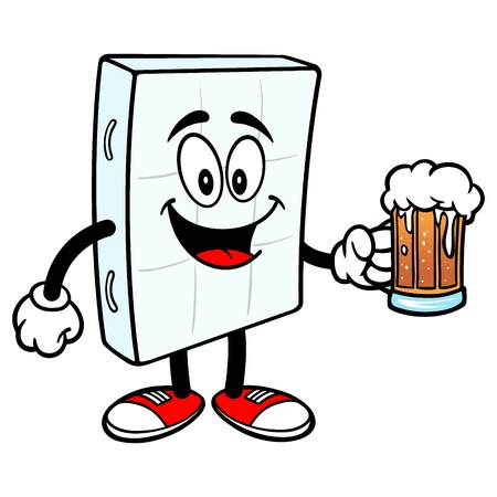 Bed Mattress Mascot with a Beer - A vector cartoon illustration of a bedroom mattress mascot with a Beer.