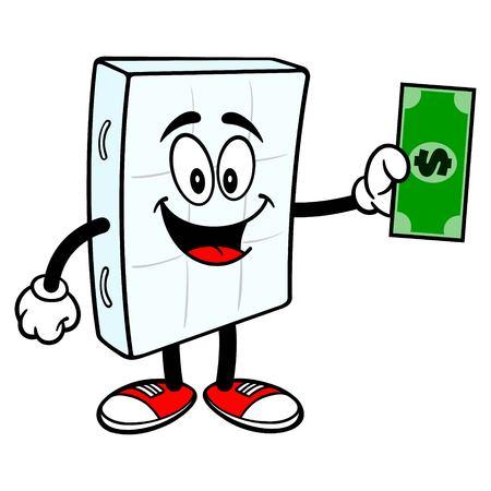 Bed Mattress Mascot with a Dollar - A vector cartoon illustration of a bedroom mattress mascot holding a Dollar.