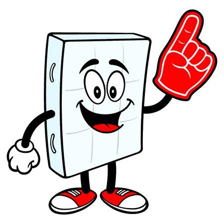 Bed Mattress Mascot with a Foam Finger - A vector cartoon illustration of a bedroom mattress mascot holding a Foam Finger. Ilustrace