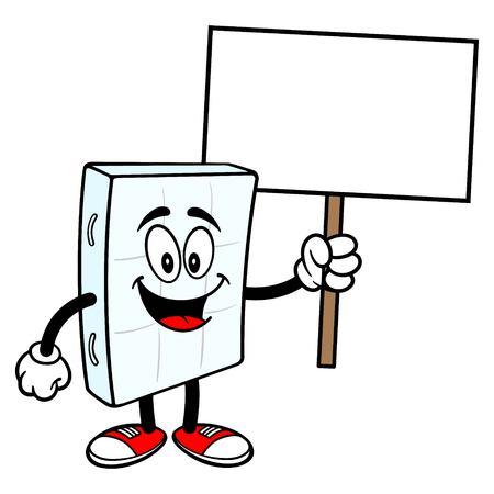 Bed Mattress Mascot holding a Sign - A vector cartoon illustration of a bedroom mattress mascot holding a Sign. Vector Illustratie