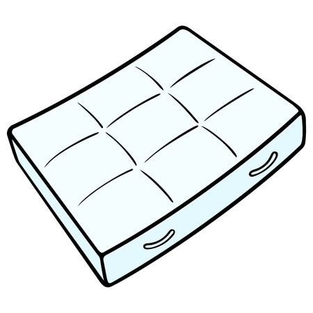Bed Mattress - A vector cartoon illustration of a bedroom mattress.