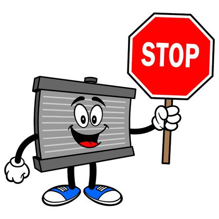 Radiator Mascot with a Stop Sign - A vector cartoon illustration of a motor radiator mascot with a Stop sign.