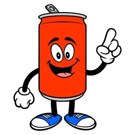 Soda Can Mascot Pointing - A vector cartoon illustration of a Soda can mascot pointing. Ilustracja