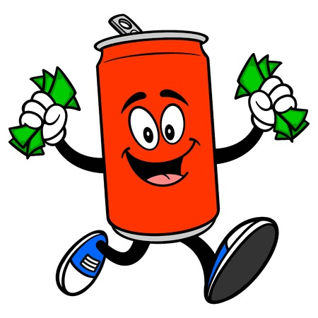 Soda Can Mascot running with Money - A vector cartoon illustration of a Soda can mascot running with Money.