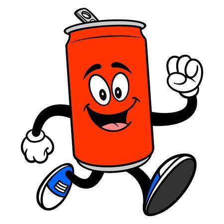 Soda Can Mascot Running - A vector cartoon illustration of a Soda can mascot running.