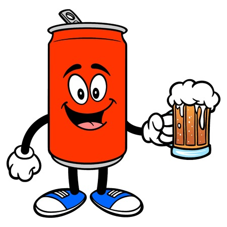 Soda Can Mascot with a Beer - A vector cartoon illustration of a Soda can mascot with a Beer. Ilustracja