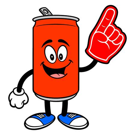 Soda Can Mascot with a Foam Finger - A vector cartoon illustration of a Soda can mascot with a Foam Hand. Ilustracja