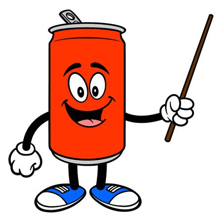 Soda Can Mascot with a Pointer - A vector cartoon illustration of a Soda can mascot holding a Pointer stick.