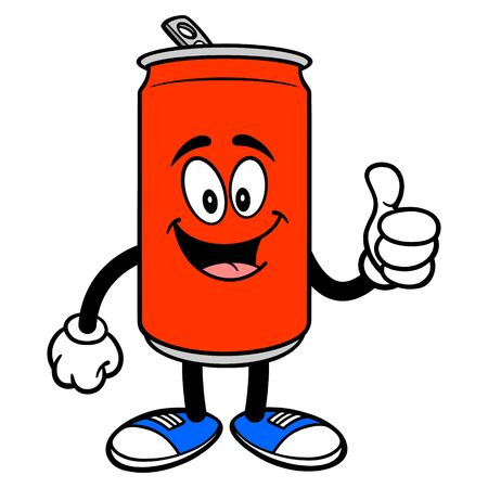 Soda Can Mascot with Thumbs Up - A vector cartoon illustration of a Soda can mascot holding Thumbs Up. Ilustracja
