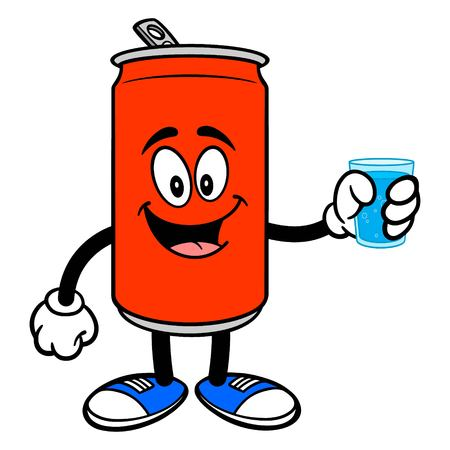 Soda Can Mascot with Water - A vector cartoon illustration of a Soda can mascot with a glass of Water. Ilustracja